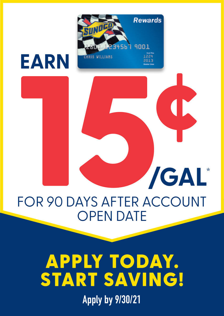 Earn 15 cents off per gallon for 90 days