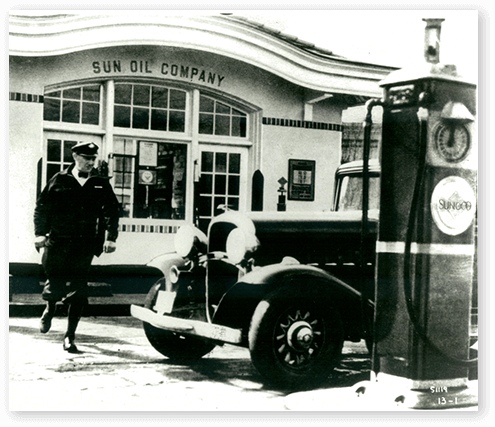 Vintage photo of Sun Oil Company gas station