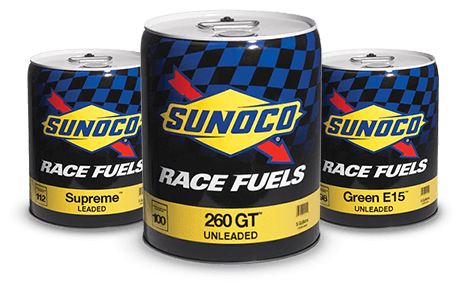 Three cans of Sunoco race fuel